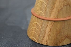 Oak ring box with pear wood collar