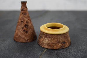 Burr elm ring box with boxwood collar