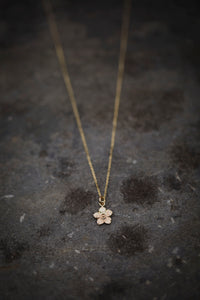 Gold thistledown necklace made with eco gold