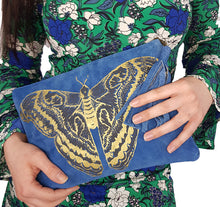 Load image into Gallery viewer, Blue Suede Moth Clutch