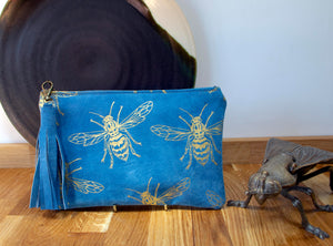 Large blue suede purse