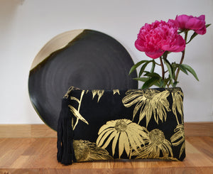 Echinacea black and gold clutch