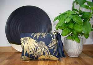 Navy and Gold Echinacea Purse