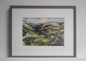 'Cothi'  framed with simple grey painted wood frame and deep mount board