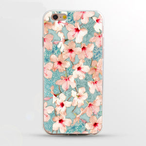 Phone Case For iPhone 7 7Plus 6 6S 5 5S SE Case Soft TPU Cover Flower Leaves Bird For iPhone 6S 8Plus coque iphone xs