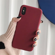 Load image into Gallery viewer, Silicone Case Solid Color Cute Plain Candy Cover Phone Case For iPhone 8 7 6 6s Plus 10 X XR XS MAX Back Protect Soft TPU Funda