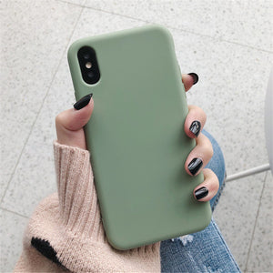 Silicone Case Solid Color Cute Plain Candy Cover Phone Case For iPhone 8 7 6 6s Plus 10 X XR XS MAX Back Protect Soft TPU Funda