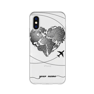 Personalized Custom Name World Map Crown Heart Soft Clear Phone Case For iPhone 6 6S 7 8 Plus X XS 11 Pro max Huaiwei P10 20 30