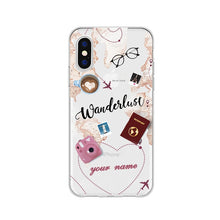 Load image into Gallery viewer, Personalized Custom Name World Map Crown Heart Soft Clear Phone Case For iPhone 6 6S 7 8 Plus X XS 11 Pro max Huaiwei P10 20 30