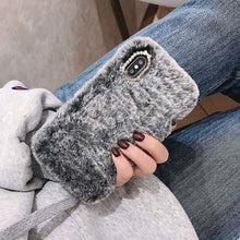 Load image into Gallery viewer, Fashion Case for iPhone XS Max XR X 11 Pro Gift TPU Case Furry fluffy Warm Cover for iPhone 6 6S 7 8 Plus Soft Phone Case GY395