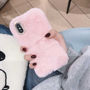 Fashion Case for iPhone XS Max XR X 11 Pro Gift TPU Case Furry fluffy Warm Cover for iPhone 6 6S 7 8 Plus Soft Phone Case GY395