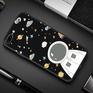 Silicone Phone Case For iPhone XR XS Max 7 8 6 6S Plus 5 5S Pattern Cartoon Planet Space Star Back Cover For iPhone 11 Pro Shell