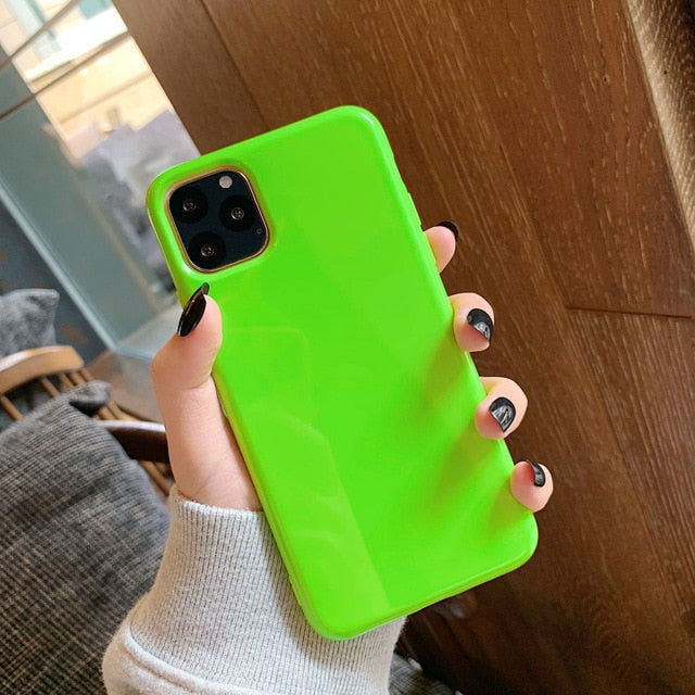Lovebay Fluorescent Color Phone Case For iPhone 11 Pro Max 6 6s 7 8 Plus X XR XS Max Soft TPU Plain Pure Solid Color Back Cover
