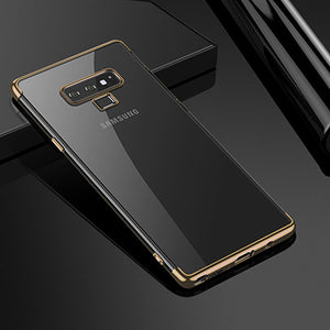 Luxury Soft Phone Case For Samsung Galaxy S9 S8 Plus Note 8 9 A3 A5 A7 A8 2017 2018 Transparent Plating Case Silicone Cover