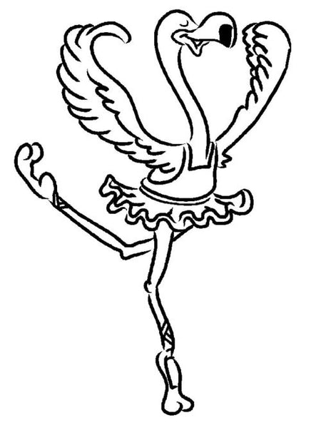 coloriage flamant rose en tutu