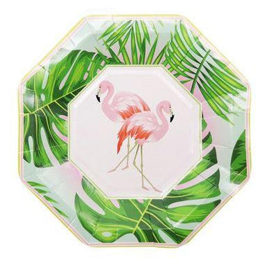 Assiettes Flamant Rose Tropical