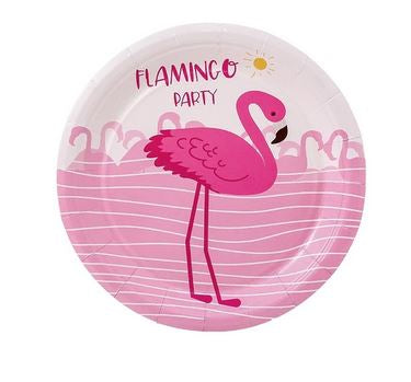 Assiettes Rondes Flamant Rose