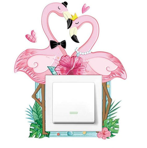 autocollant sticker interrupteur couple de flamant rose