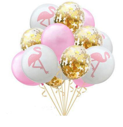 Ballons Flamant Rose Or