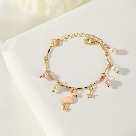 bracelet flamant rose avec breloque pandora or