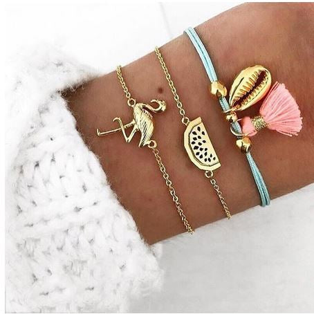 lot de bracelets flamant rose tropical