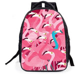 cartable d'ecole flamant rose bleu