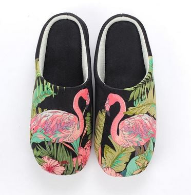 Chaussons noirs Flamant Rose