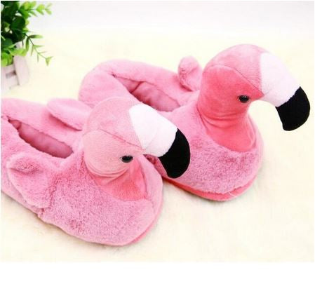 chaussons chauds flamant rose unisexe