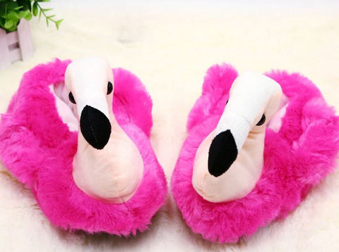 chaussons flamant rose en peluche