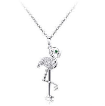 Collier Flamant Rose Strass Argent