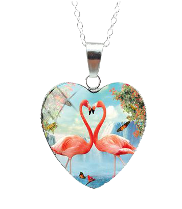 Collier Flamant Rose Cœur Cascade