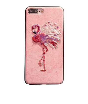 coque iphone en cuir flamant rose