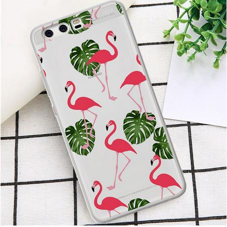 coque silicone anti choc pour huawei avec flamant rose