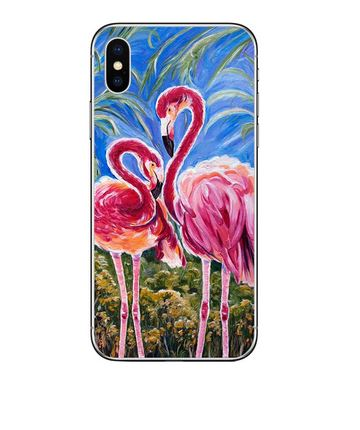 coque silicone pour iphone avec flamant rose