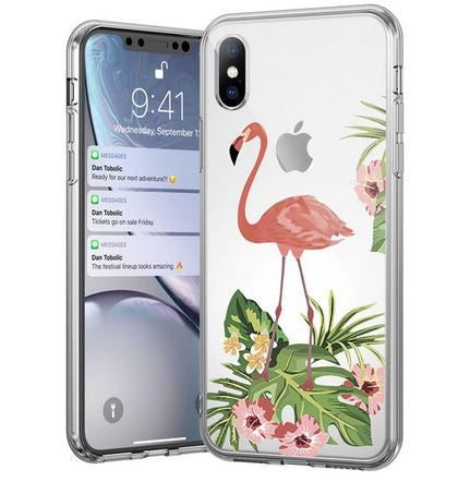 coque transparente iphone flamant rose fleurs