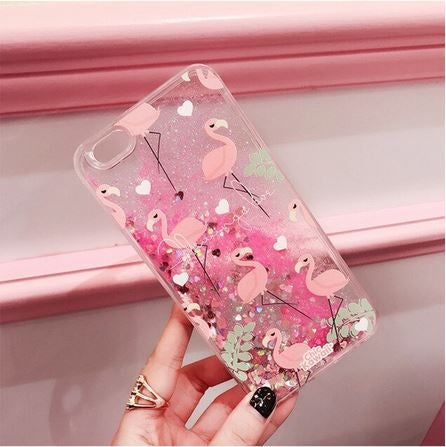 coque transparente iphone flamant rose paillette
