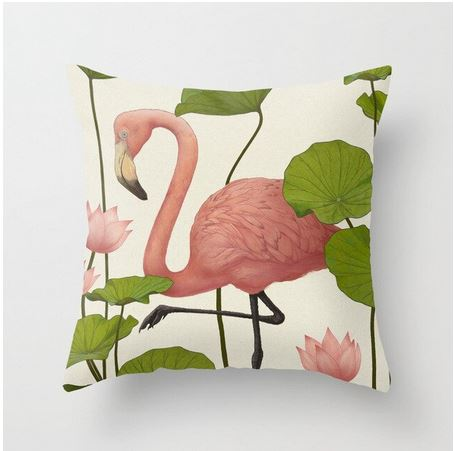 coussin decor flamant rose nenuphar