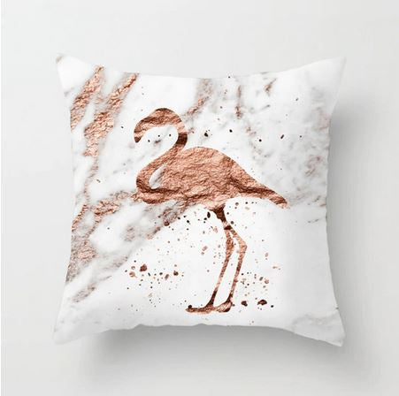coussin blanc marbre flamant rose or rose bronze