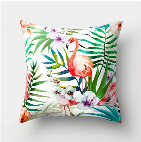coussin avec flamant rose decor tropical colore