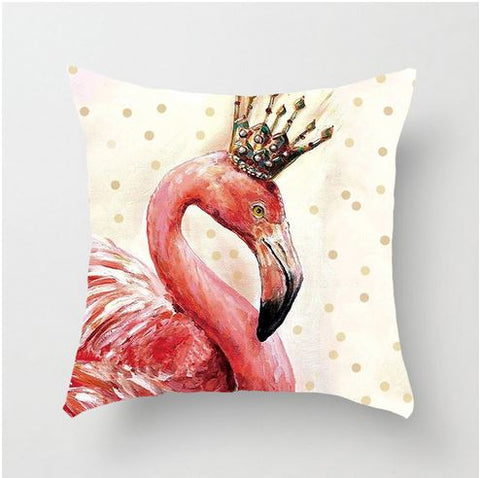 beau coussin flamant rose couronne