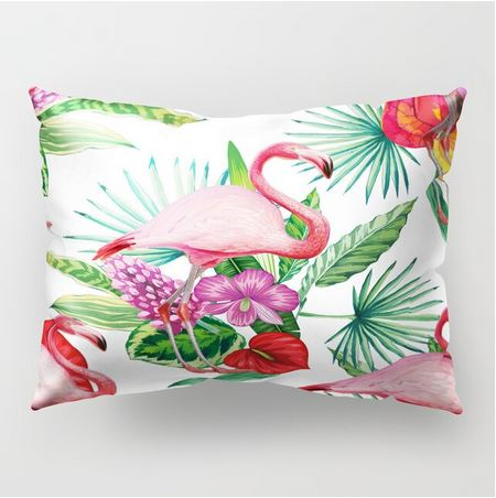 coussin flamant rose rare tropical