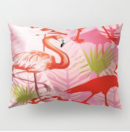 coussin rose et rouge flamant rose