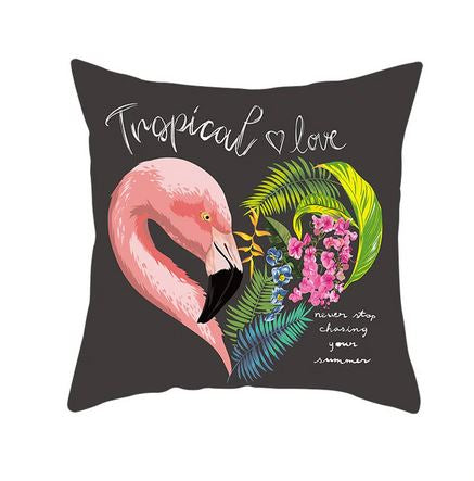 coussin original gris flamant rose tropical et amour