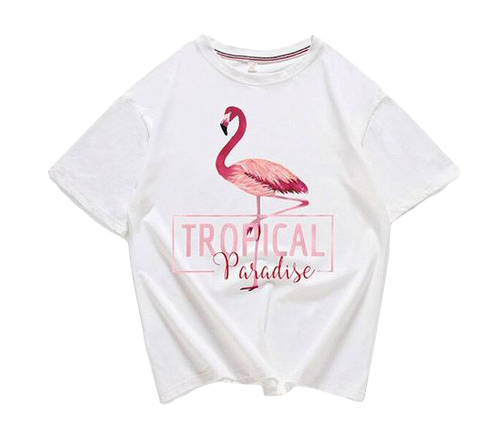 crop top flamant rose femme fille ado blanc chic