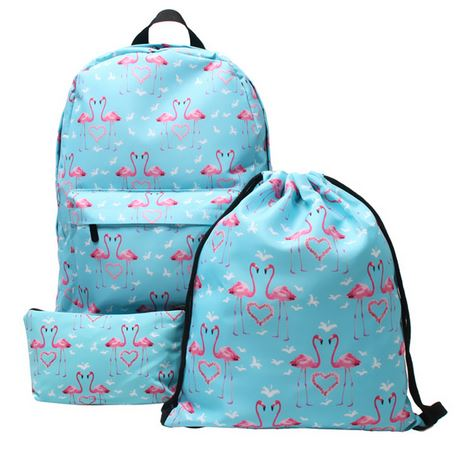 sac d'ecole flamant rose ensemble trousse