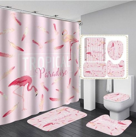 tapis flamant rose assorti rideau de douche
