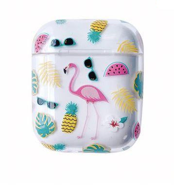 coque pour chargeur airpods flamant rose