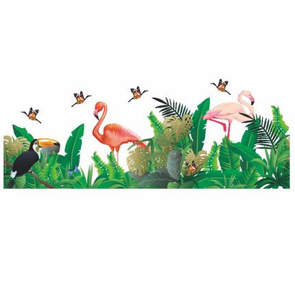 decor mural autocollant tropical flamant rose