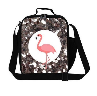 sac isotherme paillette flamant rose