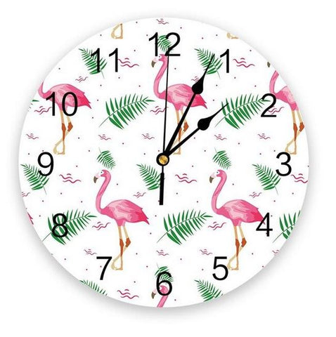 horloge flamant rose tropicale